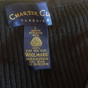 Charter Club Sweaters - Black ribbed wool v neck sweater